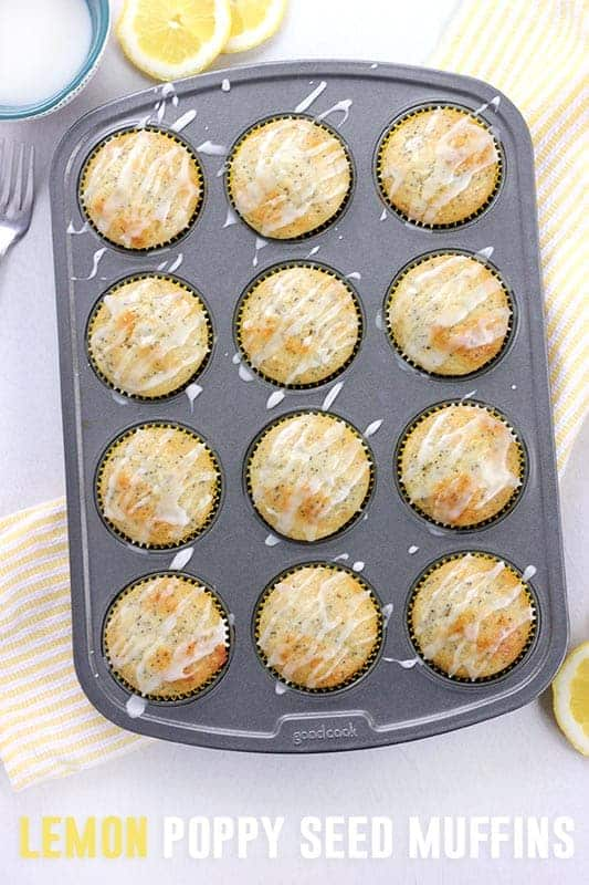 Lemon Poppy Seed Muffins in a tin