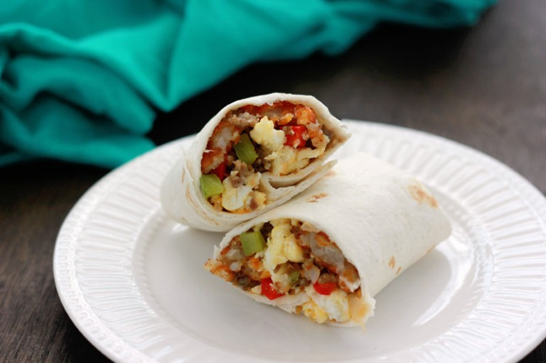 Breakfast burrito recipe on One Sweet Appetite