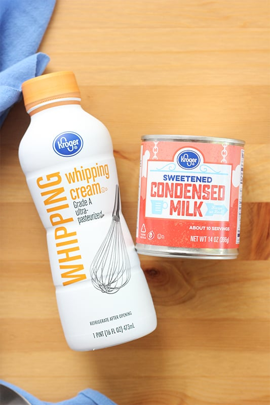 Heavy whipping cream and sweetened condensed milk