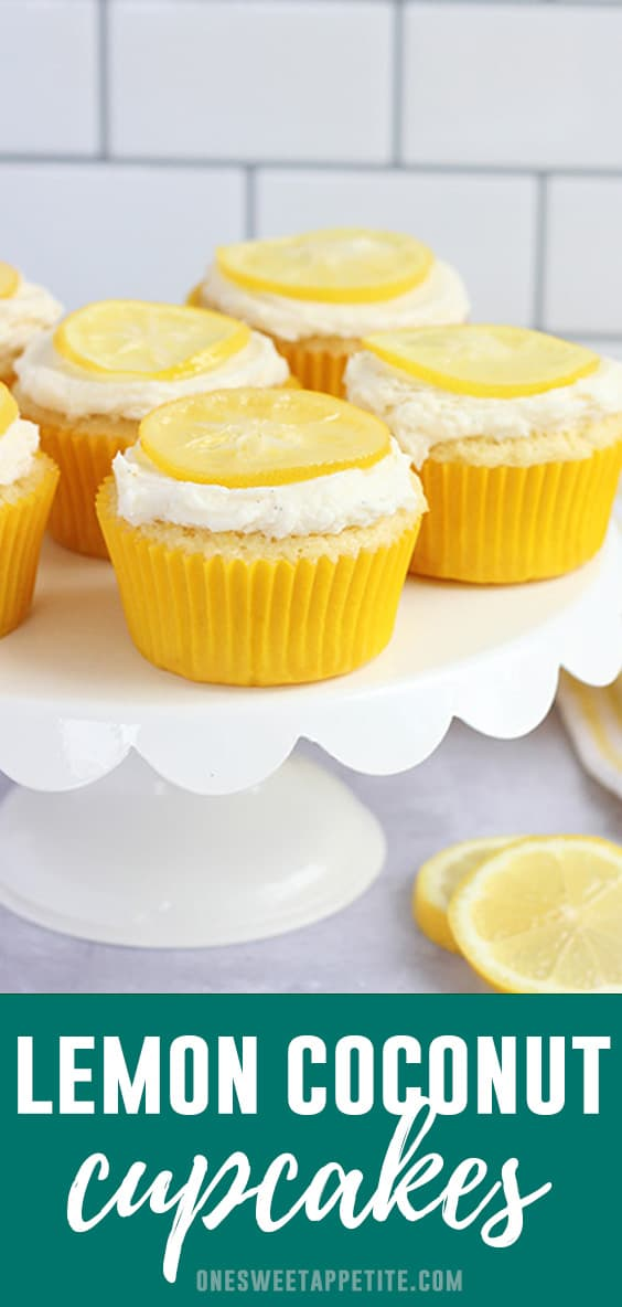These Lemon Coconut cupcakes have a moist and light lemon cake, filled with lemon curd, and topped with a sweet coconut frosting. The perfect spring cupcake flavor.