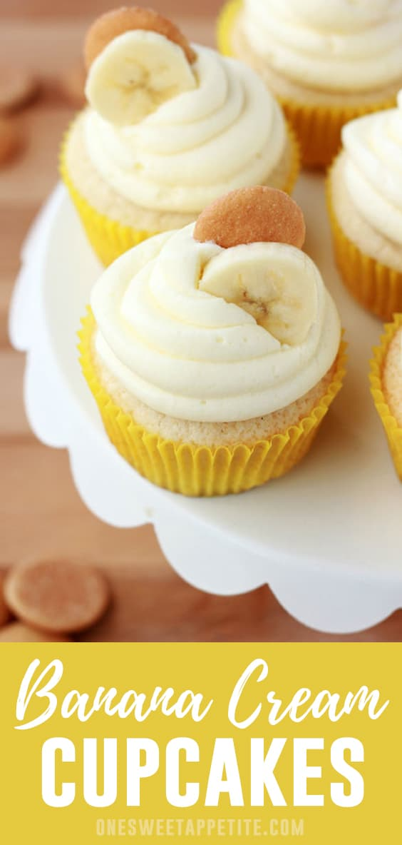 These Banana Cream Pie cupcakes start with a soft sponge cake base and are topped with a creamy banana pudding frosting.
