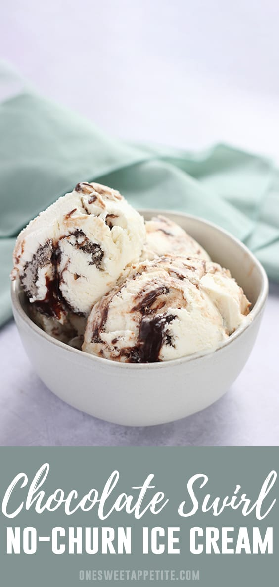 No-Churn Chocolate Swirl Ice Cream. This four ingredient ice cream comes together with just a few simple ingredients; heavy whipping cream, sweetened condensed milk, vanilla extract, and hot fudge. The results are a creamy and delicious no-churn dessert.