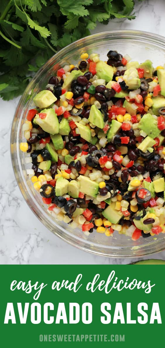 This mouth-watering Avocado Salsa is a summer side dish staple! Made with ripe avocado, black beans, sweet peppers, and onions - Perfect to take to potlucks!