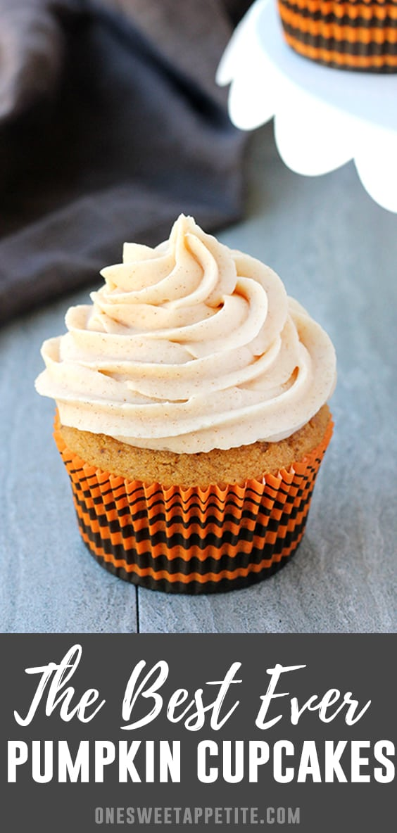 Pumpkin Cupcakes! This sweet moist pumpkin cake is topped with cinnamon cream cheese frosting giving you a match made in pumpkin spice heaven! The perfect fall dessert recipe.
