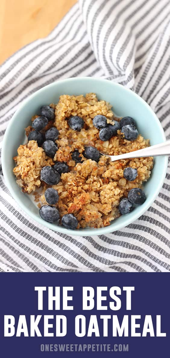 Try this easy Baked Oatmeal Recipe for a fun morning treat! It is perfect to serve with your favorite fruit mixed in! Try blueberries or bananas for my favorite versions.