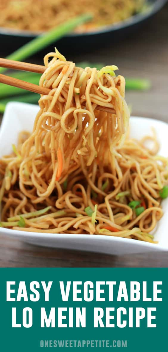 This easy Vegetable Lo Mein comes together in 20 minutes making it a go-to weeknight dinner! Loaded with veggies and kid approved makes this a family favorite recipe!