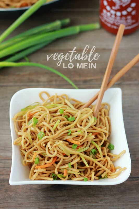 Vegetable Lo Mein in a bowl with chopsticks