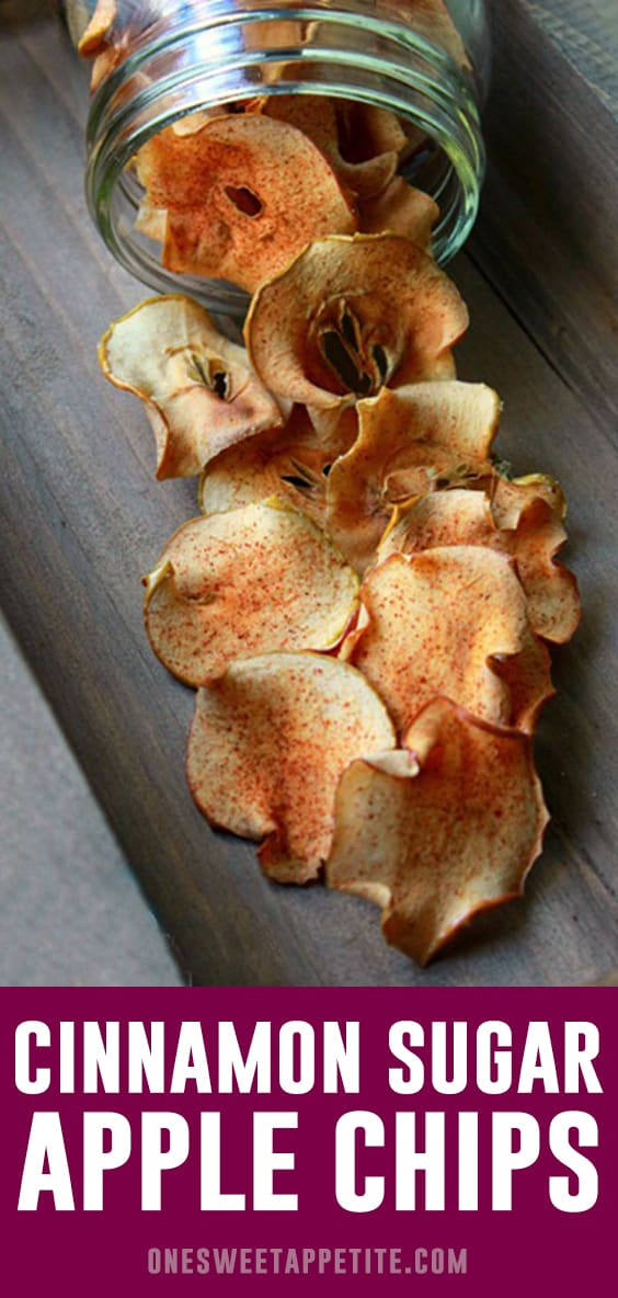 Baked cinnamon and sugar apple chips are an easy snack made with your favorite variety of apple. Cinnamon and sugar give the chips a sweet dessert flavor!