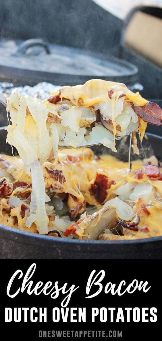 Cheesy Dutch Oven Potatoes are loaded with bacon and cooked to perfection over hot coals or in the oven! Ideal for camping or an everyday side!
