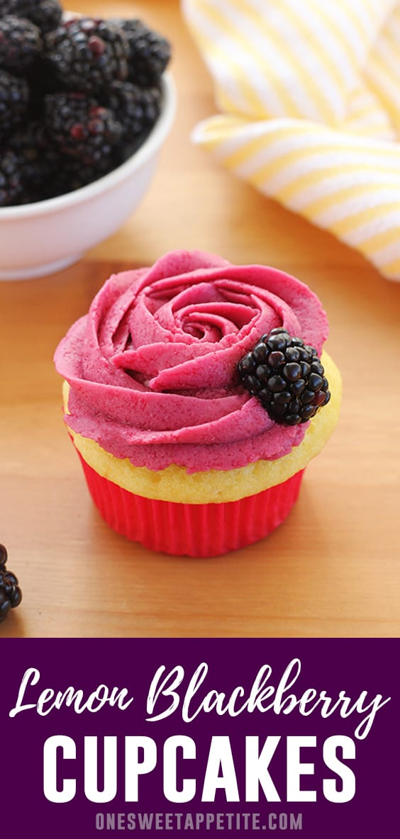 Blackberry Lemonade Cupcakes start with a modified box mix and are topped with the most incredible fresh blackberry frosting. Quick. Easy. Delicious.