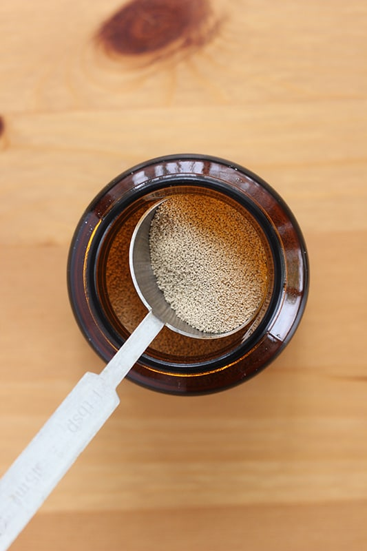 Yeast in a measuring spoon