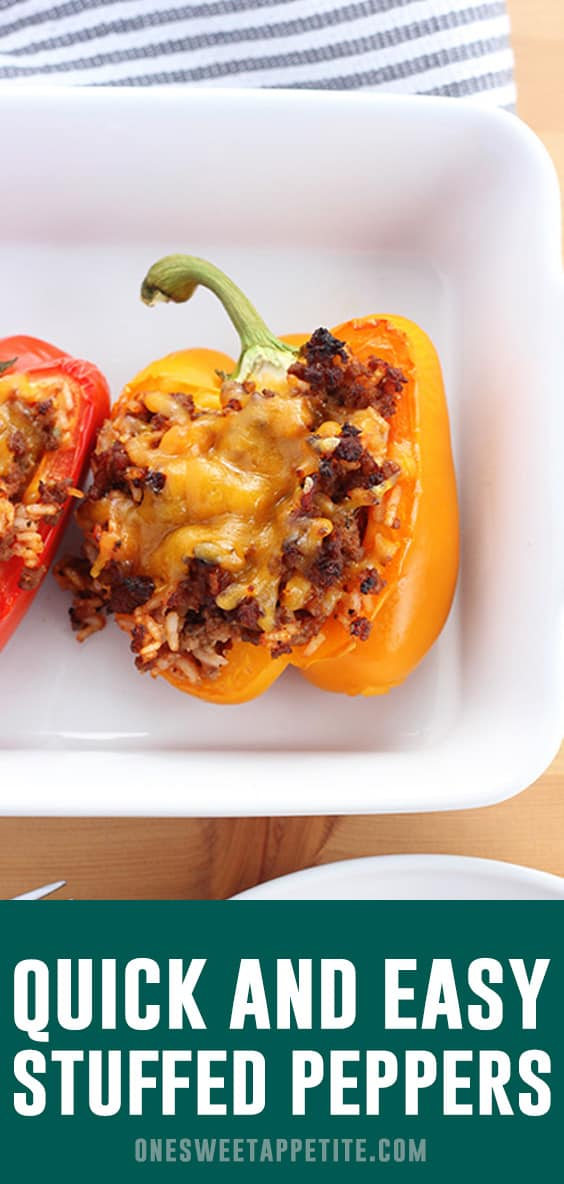 Easy Stuffed Peppers made with beef, Italian sausage, tomato sauce and garlic. The perfect filling meal that can even be made ahead of time!