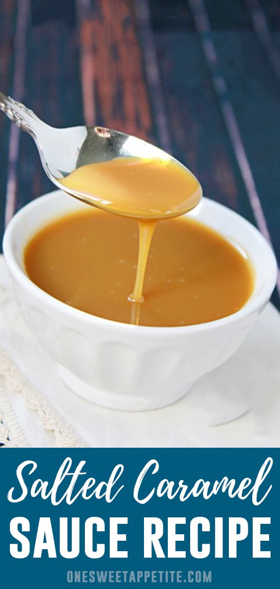 How to make Salted Caramel Sauce- This salted caramel sauce is a must-have for any dessert recipe! Made with only five ingredients and in under 10 minutes!