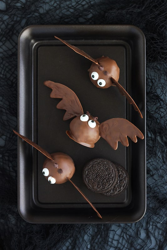 Oreo Truffles Shaped Like Bats on Tray