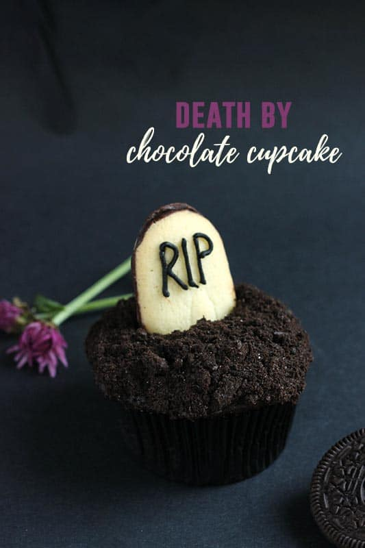 chocolate cupcake decorated with cookie headstone
