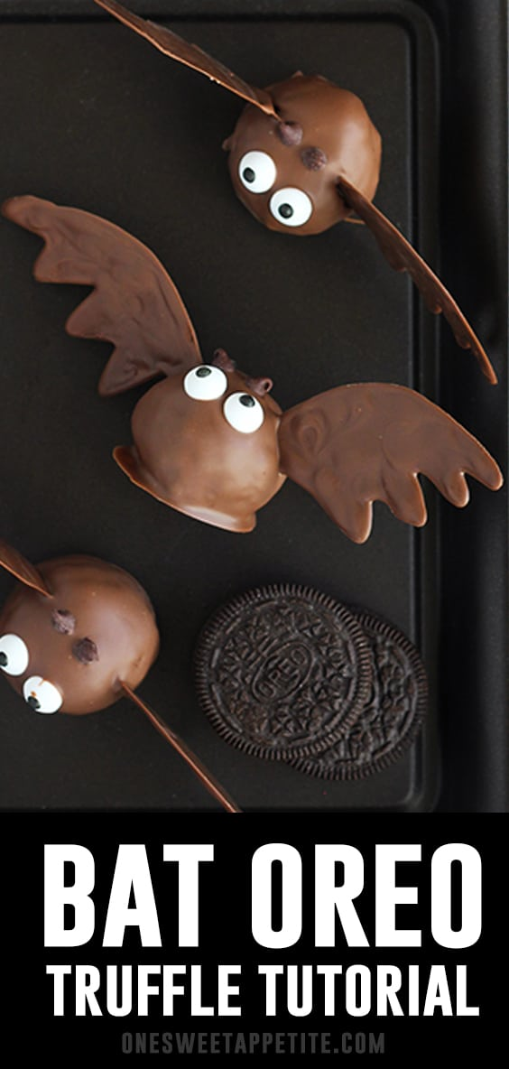 Halloween is a little extra sweet when you have a batch of these Bat Oreo Truffles! Oreo cookies are blended with cream cheese. The base is then dipped in melted chocolate and finished off with candies!