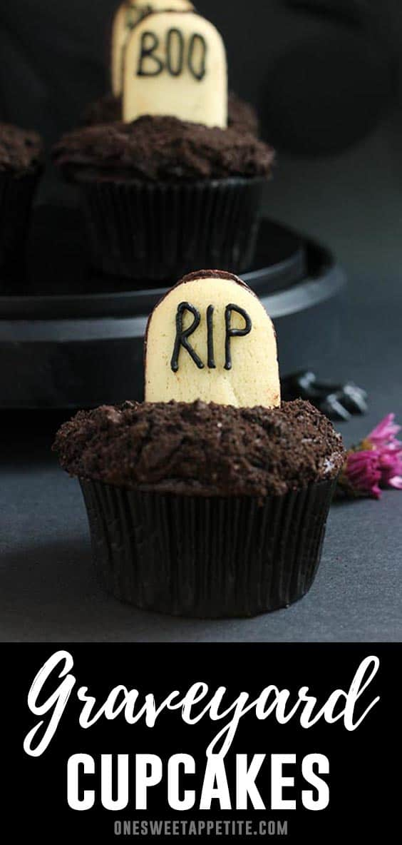 Death by chocolate cupcake recipe. Rich chocolate cupcakes are topped with a dark chocolate frosting, dipped in crushed Oreo cookies, and garnished with a Milano cookie designed to look like a tombstone. Perfect for a quick Halloween treat!