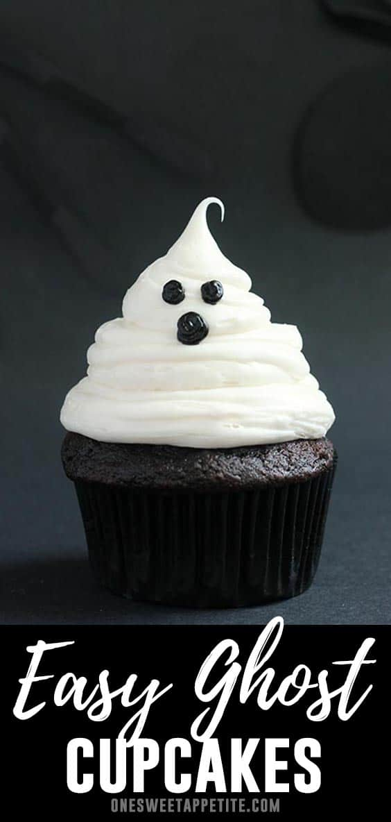 Easy Halloween Ghost Cupcakes. Dark chocolate cupcakes topped with vanilla buttercream and black frosting make the perfect spooky Halloween treat!