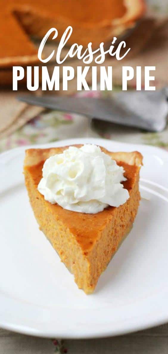 This classic Pumpkin Pie Recipe comes straight off the back of the Libby's can and is still one of my favorites!