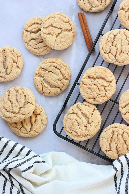 The best snickerdoodle cookies on cooling rack