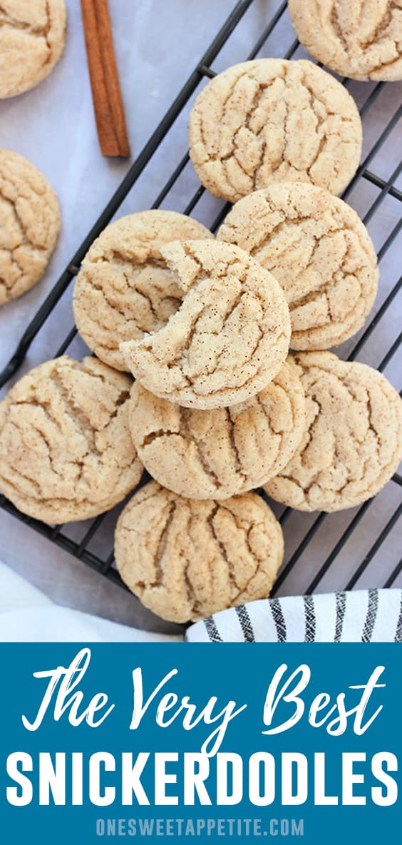 The very BEST Snickerdoodle Cookies. The secret? Cinnamon is added into the dough and the batter is rolled into a cinnamon sugar mixture just before baking! The end result is a flavor packed soft and chewy cookie that is hard to resist!
