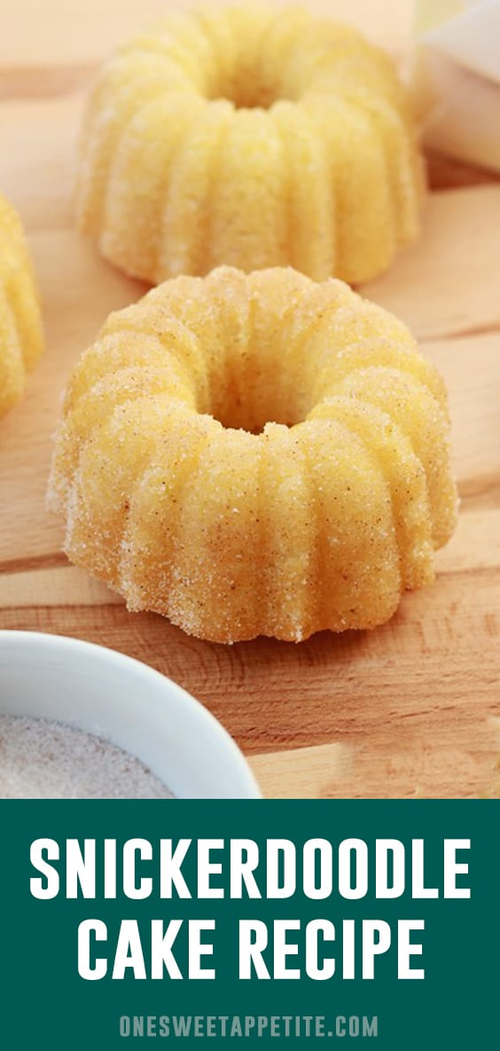 This snickerdoodle cake has a soft and buttery center and sweet cinnamon sugar coating. It is the perfect dessert recipe to help with your sweet cravings!