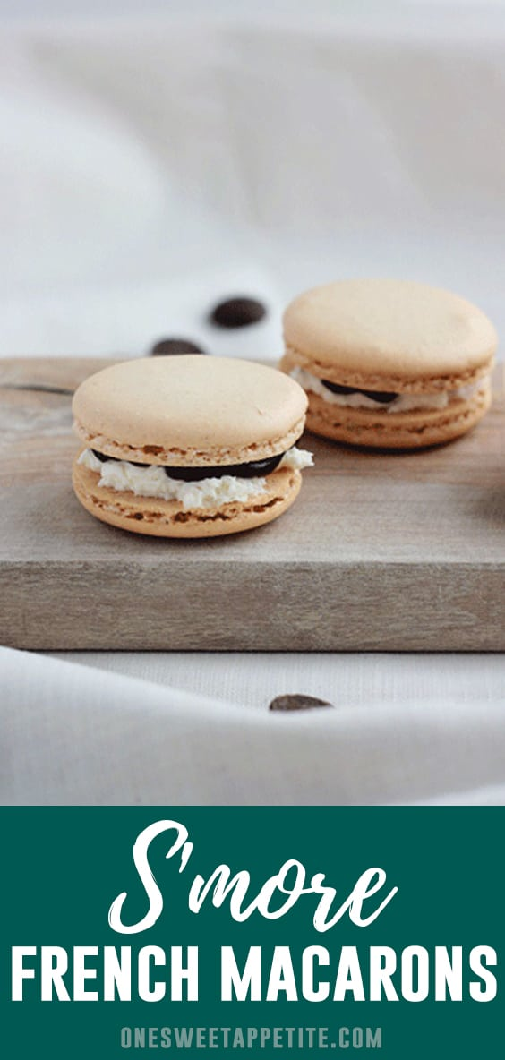 Classic French Macaron Cookies are filled with homemade chocolate ganache and marshmallow frosting for the perfect summer flavor! These S'more Macarons are every cookie lovers dream.
