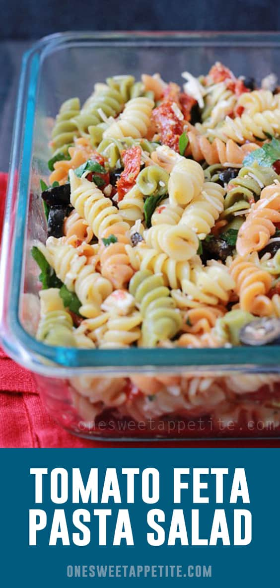 This Tomato Feta Pasta Salad is the perfect make ahead side dish recipe! Great for camping, picnics, or any summer gathering!