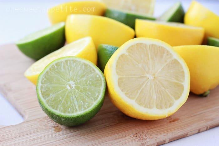 Lemons and limes sliced