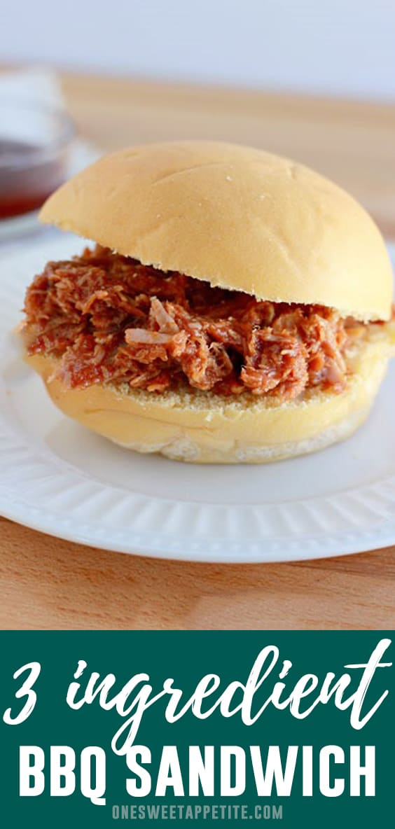 Pulled Pork Sandwich. Combine three easy ingredients into your slow cooker and let the flavors blend to perfection. BBQ sauce, chopped onion, and a quality cut of pork gives you the perfect easy dinner recipe!