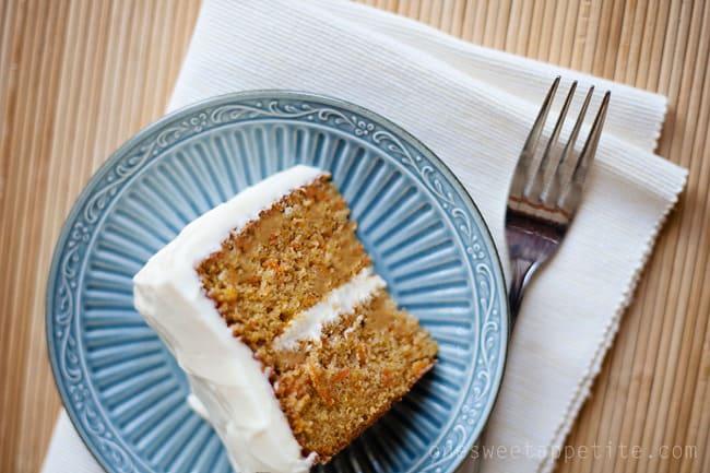 carrot cake slice on blue plate