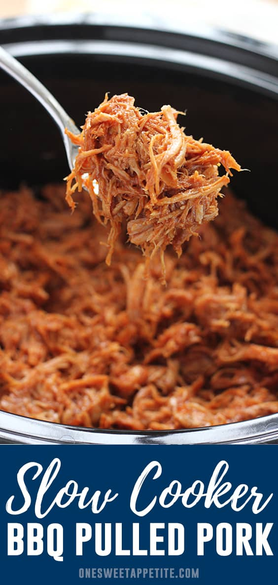 Slow cooker pulled pork- This recipe is SO easy. Made with simple ingredients, slow cooked until the meat falls apart, and full of flavor. This easy dinner recipe is about to become a family favorite.