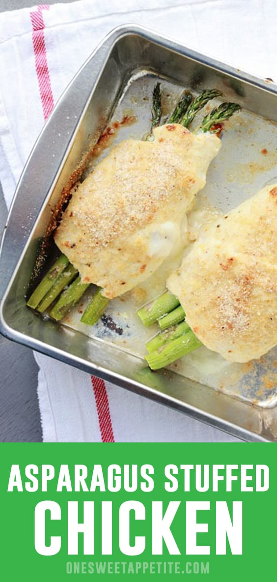 This super simple Asparagus Stuffed Chicken recipe is a easy dinner recipe! Ham, cheese, and asparagus is layered onto a chicken breast, rolled and baked to crispy perfection!