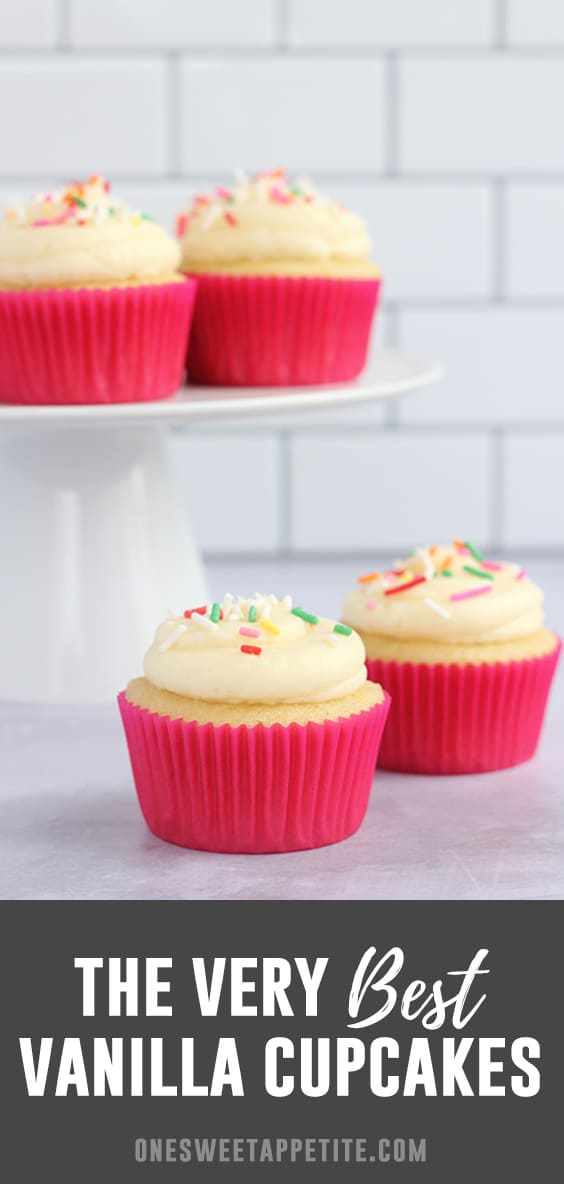 The BEST vanilla cupcakes. This homemade cupcake recipe makes beautiful moist cupcakes and is topped with vanilla buttercream frosting!