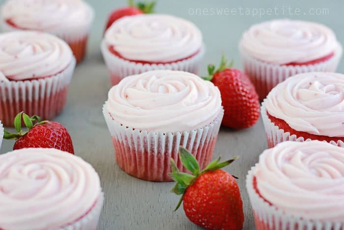 Strawberry Cupcakes Doctored Cake Mix One Sweet Appetite