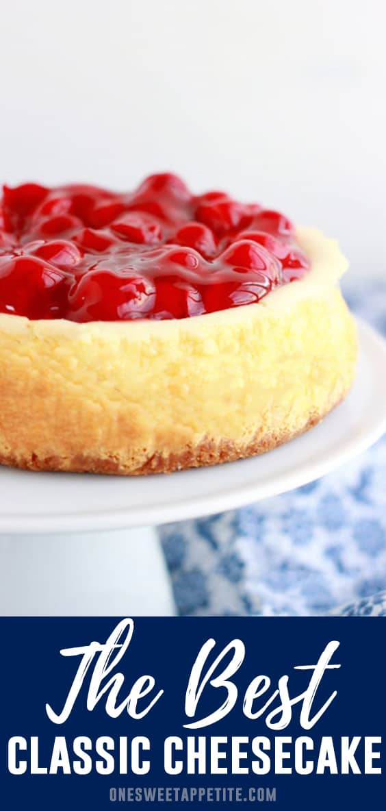 This is the best cheesecake recipe. Smooth, rich, and creamy cheesecake filling is topped on a buttery graham cracker crust. Amazing with or without a fruit topping!