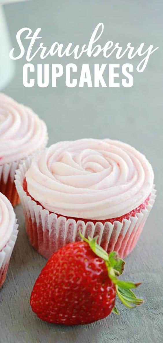 These Strawberry Cupcakes use a cake mix base with the addition of real fruit for an extra punch of flavor!