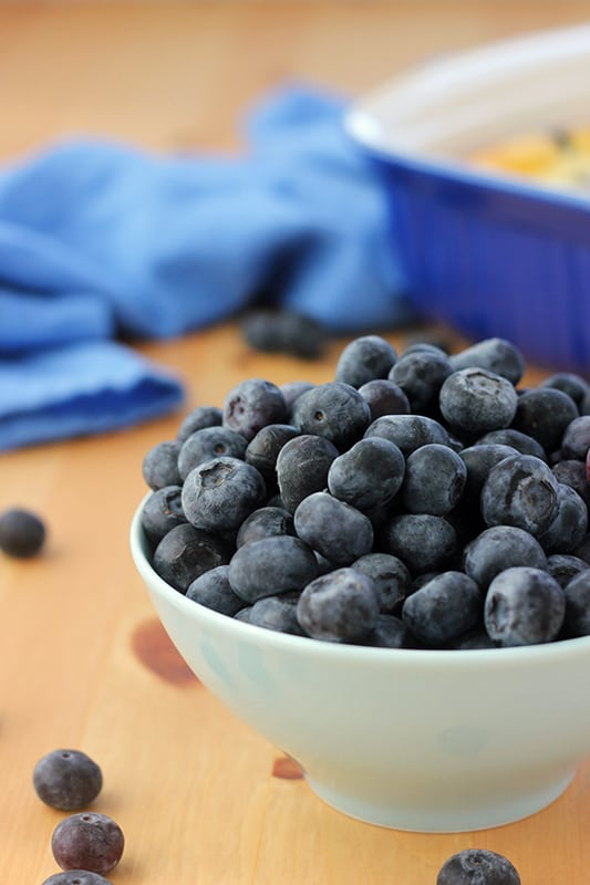 Bowl of blueberries for Blueberry Cheesecake Bars