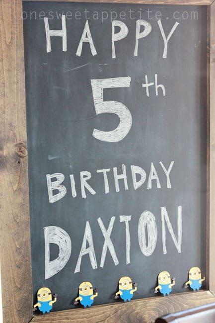 Minion party chalkboard