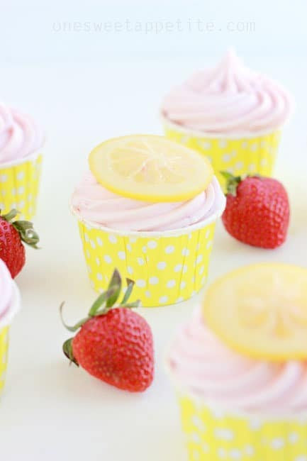 strawberry lemonade cupcakes with candied lemons