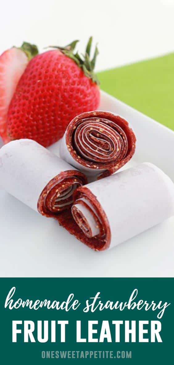 This easy recipe for Homemade Strawberry Fruit Roll Ups is the perfect healthy treat! Made with fresh fruit and honey makes it the perfect after school snack!