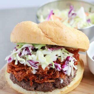 BBQ Pork Burger with Coleslaw