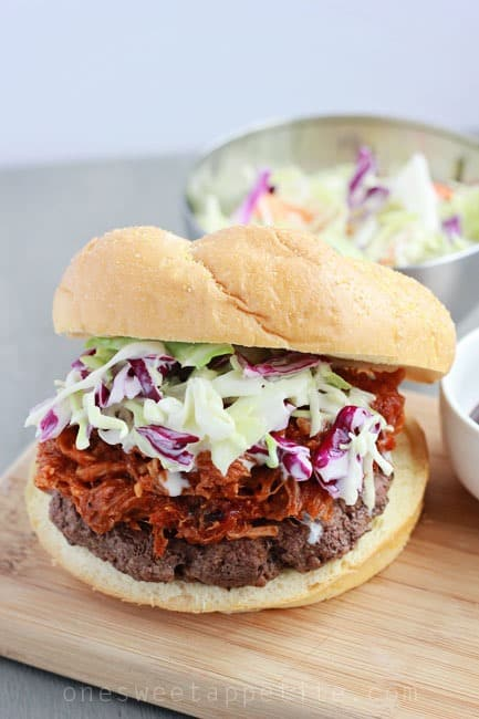 pork slaw burgers with pulled pork