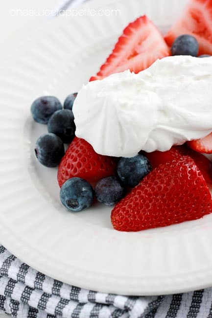 coconut whipped cream with berries