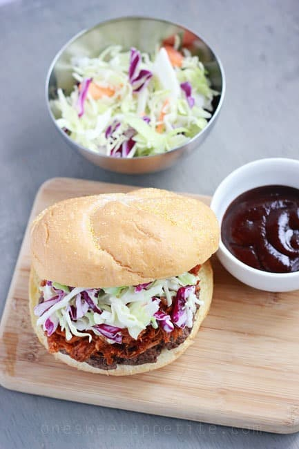 BBQ Pork Burger with Coleslaw - One Sweet Appetite