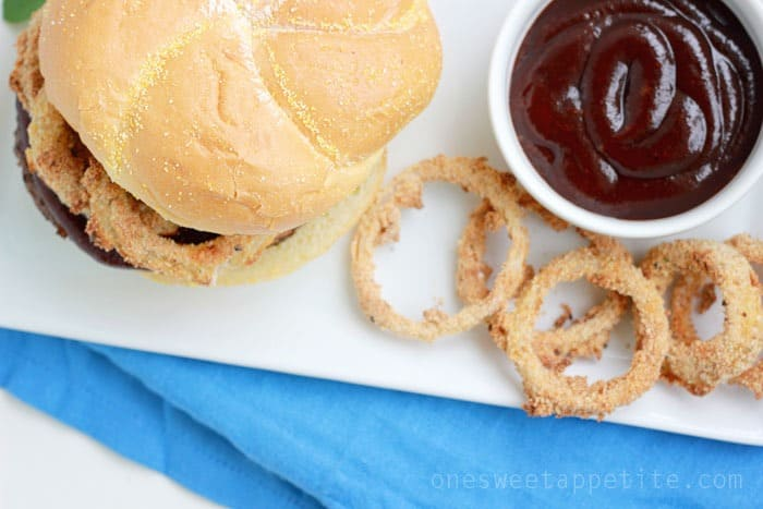 western bbq burger with baked onion rings