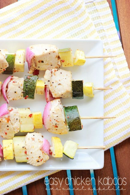 Easy chicken kabobs with veggies