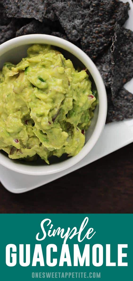 This simple Guacamole Recipe combines fresh ingredients for the perfect side dish! The secret is ripe avocado and a hefty splash of lime juice!