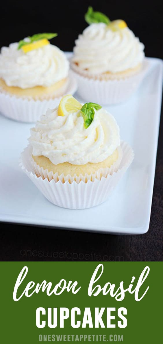 These lemon basil cupcakes are the perfect summer treat! The citrus of the lemon combined with the fresh basil compliment perfectly.