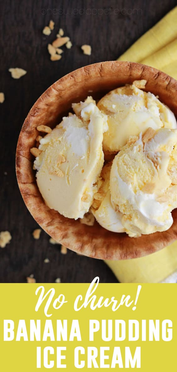 This creamy No-Churn Banana Pudding Ice Cream is made without a machine making it the perfect summer treat! Small bits of vanilla wafer cookies add a perfect crunch to every bite!